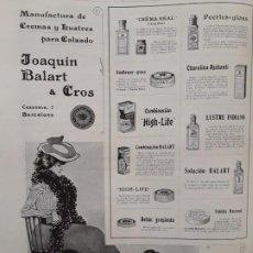 Collectionnisme d'affiches: MANUFACTURAS DE CREMAS Y LUSTRES PARA EL CALZADO -JOAQUIN BALART & CROS BARCELONA HOJA AÑO 1903. Lote 202113478