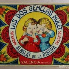 Coleccionismo de carteles: ANTIGUA ETIQUETA DE NARANJAS O PEQUEÑO CARTEL.LAS DOS GEMELAS MULET.ALBALAT DE LA RIBERA.VALENCIA.. Lote 218325726