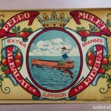 Coleccionismo de carteles: ANTIGUA ETIQUETA DE NARANJAS O PEQUEÑO CARTEL. PEDRO MULET. ALBALAT DE LA RIBERA. VALENCIA.. Lote 218326036