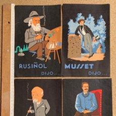 Coleccionismo de carteles: PUBLICIDAD FARMACIA . SECANTE . LA PASSIFLORINE . URISIL .RUSIÑOL, MUSSET , MARAÑON ,LARRA Y MAS.. Lote 202695961