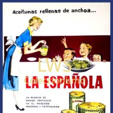 Colecionismo de cartazes: ACEITUNAS RELLENAS DE ANCHOA... LA ESPAÑOLA - ALCOY - CARTELES PUBLICIDAD - ALIMENTACIÓN - ALIMENTOS. Lote 202959138