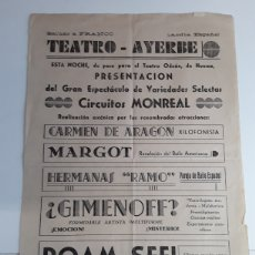 Coleccionismo de carteles: CARTEL DE EL TEATRO DE AYERBE DE LA GUERRA CIVIL ESPAÑOLA 21 X 31. Lote 203329797