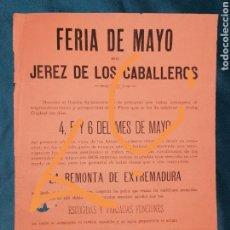 Coleccionismo de carteles: CARTEL FERIA DE MAYO DE JEREZ DE LOS CABALLEROS. 1889. Lote 203536368
