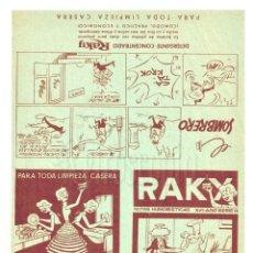 Coleccionismo de carteles: LÁMINA PUBLICIDAD TEBEO VIÑETAS NOTAS HUMORÍSTICAS DETERGENTE RAKY XVII AÑO SERIE IX AÑOS 60. Lote 203935997