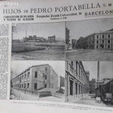 Colecionismo de cartazes: FABRICA HILADOS Y TEJIDOS ALGODON DE PEDRO PORTABELLA BARCELONA HOJA AÑO 1919. Lote 203983167