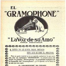 Collezionismo di affissi: 1911 HOJA REVISTA PUBLICIDAD ANUNCIO RECORTE DE PRENSA GRAMÓFONO 'GRAMOPHONE' LA VOZ DE SU AMO. Lote 204268797