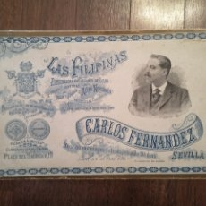 Coleccionismo de carteles: CARTEL DE CARTÓN PUBLICIDAD TIENDA CALZADOS LAS FILIPINAS - SEVILLA. AÑO 1900. 31*19 CM. Lote 205536251