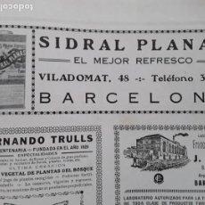 Coleccionismo de carteles: SIDRAL PLANAS EL MEJOR REFRESCO CL/ VILADOMAT BARCELONA HOJA AÑO 1928. Lote 206364356