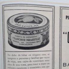Coleccionismo de carteles: FABRICA DE REFRESCOS FRANCISCO BRAGULAT ESPUMOL BARCELONA HOJA AÑO 1928. Lote 206364447