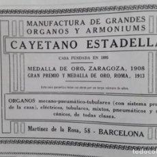 Coleccionismo de carteles: MANUFACTURA GRANDES ORGANOS Y ARMONIUMS CAYETANO ESTADELLA BARCELONA 2 HOJAS AÑO 1928. Lote 206364588