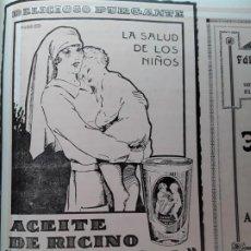 Coleccionismo de carteles: ACEITE DE RICINO GOLOSO SABOR NARANJA LA SALUD DE LOS NIÑOS BARCELONA HOJA AÑO 1928. Lote 206365431