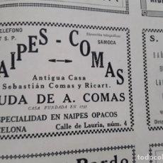 Coleccionismo de carteles: NAIPES COMAS VIUDA DE A.COMAS ESPECIALIDAD NAIPES OPACOS BARCELONA HOJA AÑO 1928. Lote 206367071