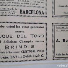 Coleccionismo de carteles: VINOS MARCA DUQUE DEL TORO CHAMPAN MARCA BRINDIS CRISTOBAL POCH BARCELONA HOJA AÑO 1928. Lote 206367891