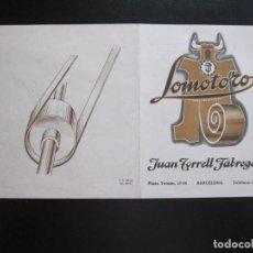 Coleccionismo de carteles: FOLLETO PUBLICITARIO JUAN TORRELL FABREGAS - LOMOTORO BARCELONA. Lote 206367928