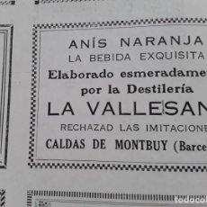 Coleccionismo de carteles: DESTILERIA LA VALLESANA ANIS NARANJA CALDAS DE MONTBUY BARCELONA HOJA AÑO 1928. Lote 206368863