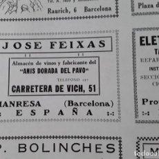 Coleccionismo de carteles: ANIS DORADA DEL PAVO JOSE FEIXAS MANRESA BARCELONA HOJA AÑO 1928. Lote 206369276