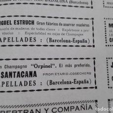 Coleccionismo de carteles: CHAMPAGNE ORPINEL E.SANTACANA CAPELLADES / CHAMPAN NOYA SAN SADURNI DE NOYA HOJA AÑO 1928. Lote 206369698