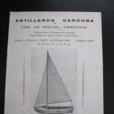 Coleccionismo de carteles: FOLLETO PUBLICITARIO ASTILLEROS CARDONA BARCELONA. Lote 206370562