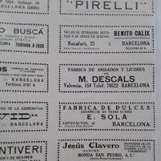 Coleccionismo de carteles: FABRICA ANISADOS LICORES M.DESCALS / J.GUINART / JOSE COMAS GRUART BADALONA BARCELONA HOJA 1928. Lote 206370776