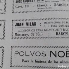 Coleccionismo de carteles: MANUFACTURA DE PELUCAS PARA MUÑECAS JUAN VILAR ACESORIOS MEMECAS Y BABYS BARCELONA HOJA 1928. Lote 206372023