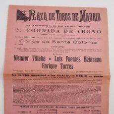 Coleccionismo de carteles: CARTEL DE TOROS, 1931.. Lote 206387112