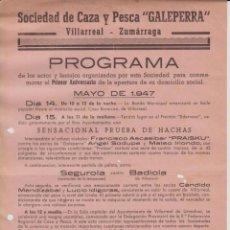 Coleccionismo de carteles: CARTEL PEQUEÑO - ACTOS Y FESTEJOS 1947 TIRADA DE PLATO – PARTIDO PELOTA – PRUEBA DE HACHAS. Lote 206524431
