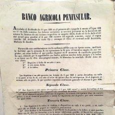 Coleccionismo de carteles: BANCO AGRÍCOLA PENINSULAR. (VALLADOLID). HOJA INFORMATIVA 1846.. Lote 206598532
