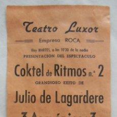 Coleccionismo de carteles: COKTEL DE RITMOS Nº 2. TEATRO LUXOR 1952 CALAHORRA. Lote 207194035