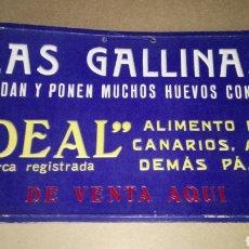"""Coleccionismo de carteles: CARTEL DE CARTÓN DE ALIMENTO """"IDEAL"""" PARA GALLINAS.. Lote 207790712"""