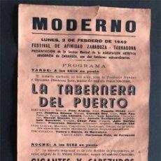Coleccionismo de carteles: TARRAGONA 1942 ( TEATRO MODERNO ) FESTIVAL DE AFINIDAD ZARAGOZA - TARRAGONA / GIGANTES Y CABEZUDOS. Lote 208331415