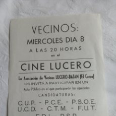 Coleccionismo de carteles: PANFLETO POLITICO TRANSICIÓN COMUNISTA.1977.PCE.PSOE.PSP.UCD.FUT.CUP.FDI.ORT.PTE.OIC.MCE.LCR.PCOE.AP. Lote 208389405