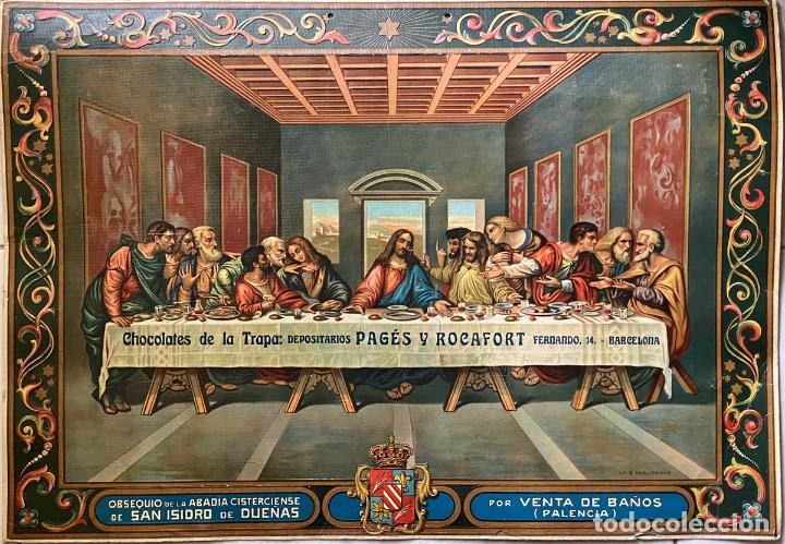CARTEL CHOCOLATES DE LA TRAPA - PAGÉS Y ROCAFORT - BARCELONA (Coleccionismo - Carteles Pequeño Formato)