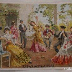 Coleccionismo de carteles: ANTIGUO ANUNCIO CARTEL PUBLICIDAD A COLOR PASAS MOSCATEL ADOLFO PRIES & CO MALAGA – ORIGINAL. Lote 208960835