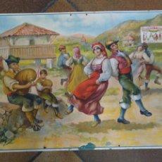Coleccionismo de carteles: PRECIOSO CARTEL EN CARTÓN. CHOCOLATES MATÍAS LÓPEZ. ASTURIAS. GAITERO. TRAJE REGIONAL.. Lote 209186535