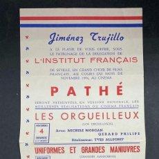 Coleccionismo de carteles: CARTEL. JIMENEZ TRUJILLO. L'INSTITUT FRANÇAIS DE SÉVILLE. 1956. PATHÉ CINEMA. GRAFICAS SEICUR. VER. Lote 210091880