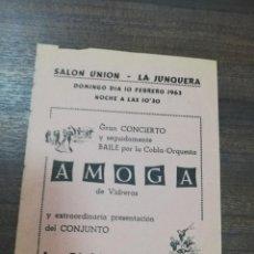 Coleccionismo de carteles: SALON UNION- LA JUNQUERA. GRAN CONCIERTO Y BAILE ORQUESTA AMOGA. LOS DIABLOS AZULES. 1963.. Lote 210096872
