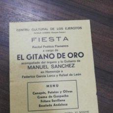 Coleccionismo de carteles: CARTEL. FIEST EL GITANO DE ORO. MANUEL SANCHEZ. HOMENAJE FEDERICO GARCIA LORCA.. Lote 210097025