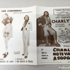 Collectionnisme d'affiches: TEATRO PRINCIPAL CASTELLON-CHARLY 74 -CHARLY NO TE VAYAS A SODOMA. Lote 210673844