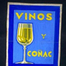 Collezionismo di affissi: CARTEL PUBLICITARIO DIBUJADO A MANO VINOS Y COÑAC VALDESPINO JERES. VER FOTOS. Lote 211259564
