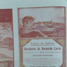 Collezionismo di affissi: TALLERES DEL ASTILLERO HEREDEROS DE BERNARDO LAVIN S.A ASTILLERO-SANTANDER HOJA PUBLICIDAD 1920. Lote 212036075
