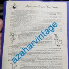 Coleccionismo de carteles: ALGO ACERCA DE ESOS BOY SCOUTS, LORD BADEN-POWELL DE GILWELL, MUY RARO,22X32 CMS. Lote 212578837