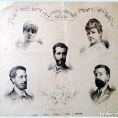 Coleccionismo de carteles: 1887.- LA ESCENA ILUSTRADA- INTERPRETES ARTISTAS DE LA OBRA LA REYNA DE SABA. MED. 30 X 20 CM.. Lote 212600726