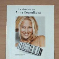 Coleccionismo de carteles: RELOJES OMEGA ANNA KOURNIKOVA EL SEMANAL HOJA DE PUBLICIDAD DE PRENSA AÑO 2000. Lote 213791125