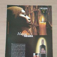 Coleccionismo de carteles: RON CACIQUE 500 VENEZUELA EL SEMANAL HOJA DE PUBLICIDAD DE PRENSA AÑO 2000. Lote 213791688