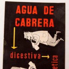 Coleccionismo de carteles: ORIGINAL DE PUBLICIDAD - AGUA DE CABRERA. Lote 213880818