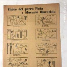 Coleccionismo de carteles: AUCA VIAJES DEL PERRO PISTA Y MACARIO BISCUTISTA AUTOMOVIL BISCUTER. Lote 215812152