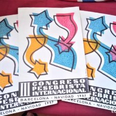 Coleccionismo de carteles: COLECCION BELENES,NACIMIENTOS Y PESEBRES DE NAVIDAD,3 POSTERS CONGRESO PESSEBRISTAS 1957 BARCELONA. Lote 216716163