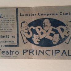 Coleccionismo de carteles: 1939 TEATRO PEPE ISBERT TEATRO PRINCIPAL (ZARAGOZA?) IMPRESO SEVILLA. Lote 217448117