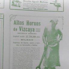 Coleccionismo de carteles: ALTOS HORNOS DE VIZCAYA BILBAO FABRICAS HIERRO ACERO HOJALATA BARACALDO SESTAO HOJA REVISTA AÑO 1909. Lote 217498216