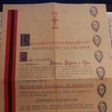 Coleccionismo de carteles: TITULO DE EMPRESA EJEMPLAR A CARGO DE LA JONS, 1942. Lote 217654442